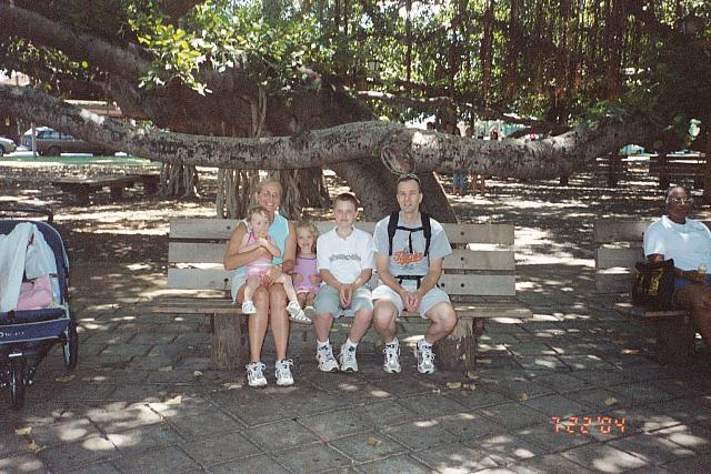 The family under The Banyan Tree, Lahaina, Maui.