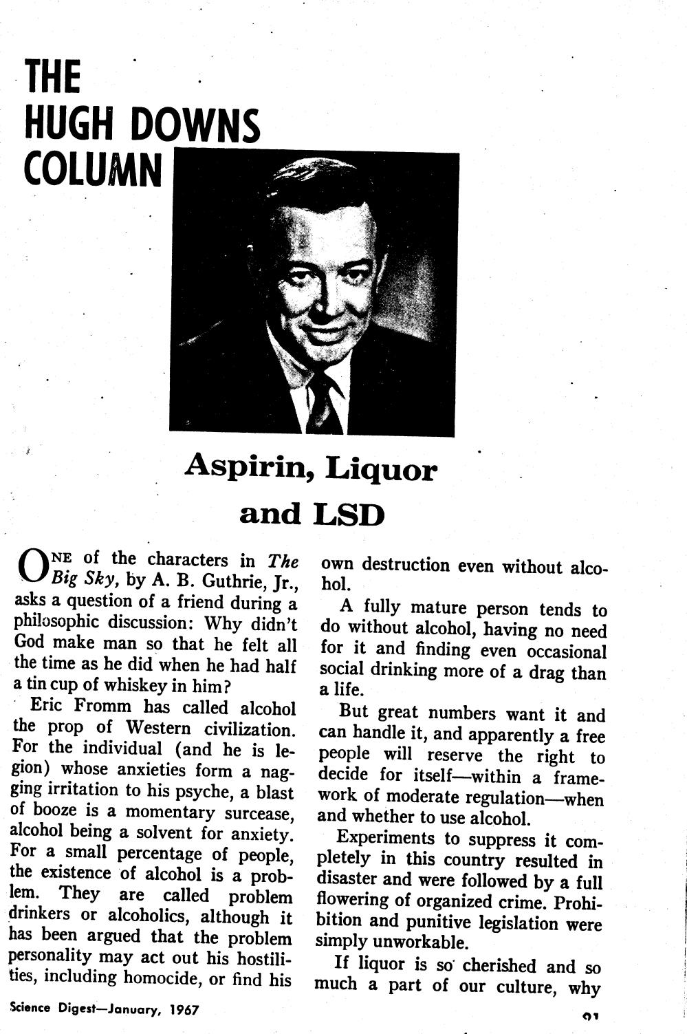 Science Digest, The Hugh Downs Column - Aspirin, Liquor and LSD January 1967 page 1