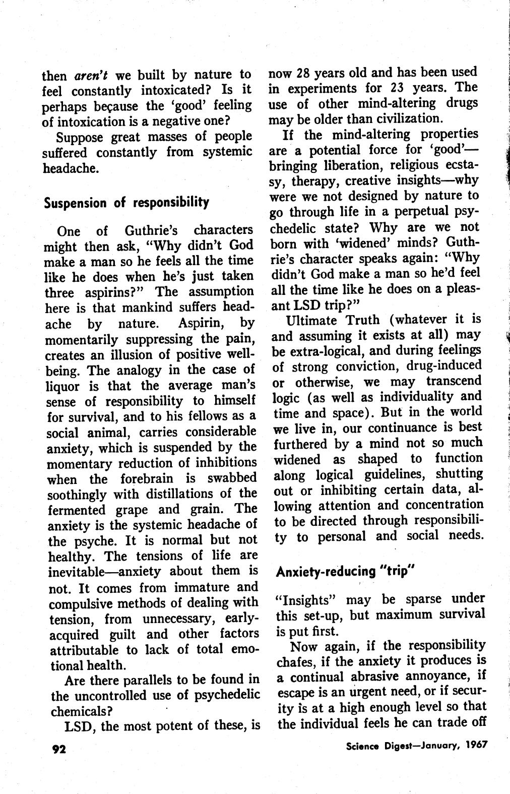 Science Digest, The Hugh Downs Column - Aspirin, Liquor and LSD January 1967 page 2