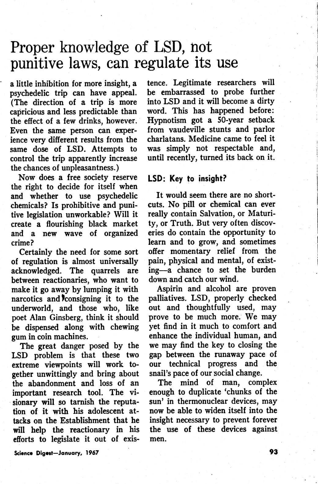 Science Digest, The Hugh Downs Column - Aspirin, Liquor and LSD January 1967 page 3