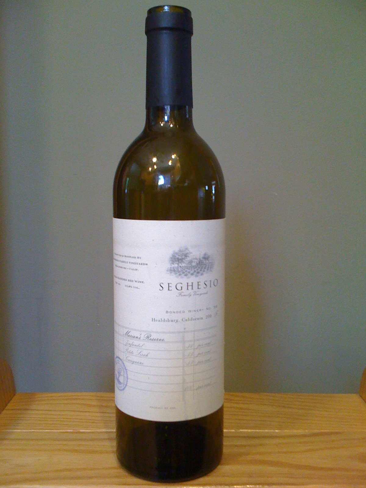 Seghesio Family Vineyards Marian's Reserve (2007)